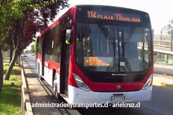 Bus LBTT24 en el servicio 114 Transantiago (Marcopolo Torino – M. Benz)