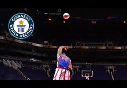 Guinness World Records Day 2014 – Longest backwards basketball shot