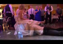 Groom Surprises Bride with a Hilarious Garter Removal