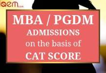 MBA PGDM Admissions on basis of CAT scores