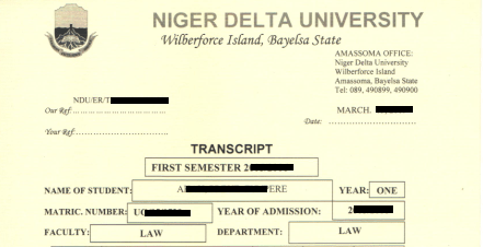 How to get your Niger Delta University (NDU) Transcript