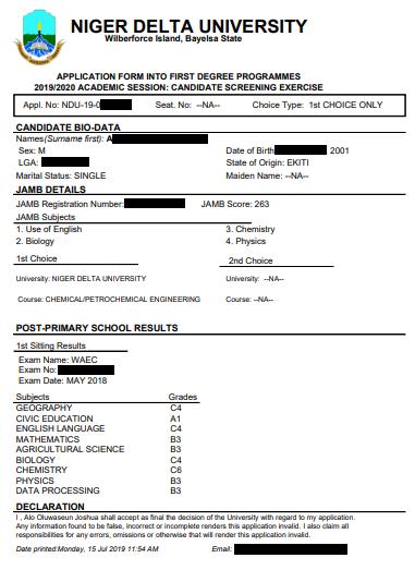 Sample of NDU Post UTME Form