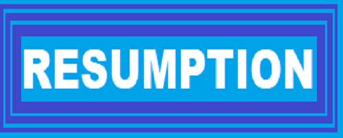 Resumption Date Remains November 8th – NDU