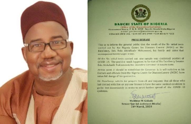 Governor Bala Mohammed of Bauchi tests positive for Coronavirus