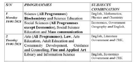 NDU Programmes, Post UTME Dates with Subject Combinations