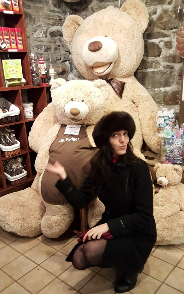 [Photo courtesy of Adriana Popa | Me with toffee bears in the toffee shop in Quebec]
