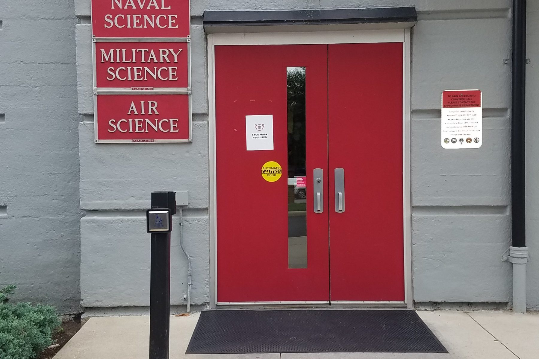 Ohio State University ROTC building entrance with signs for Military Science, Air Science, & Naval Science