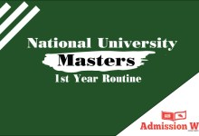 Photo of NU Masters 1st Year Routine 2020 PDF Download