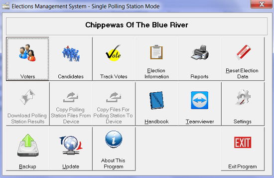 Elections Management Software - Home Window
