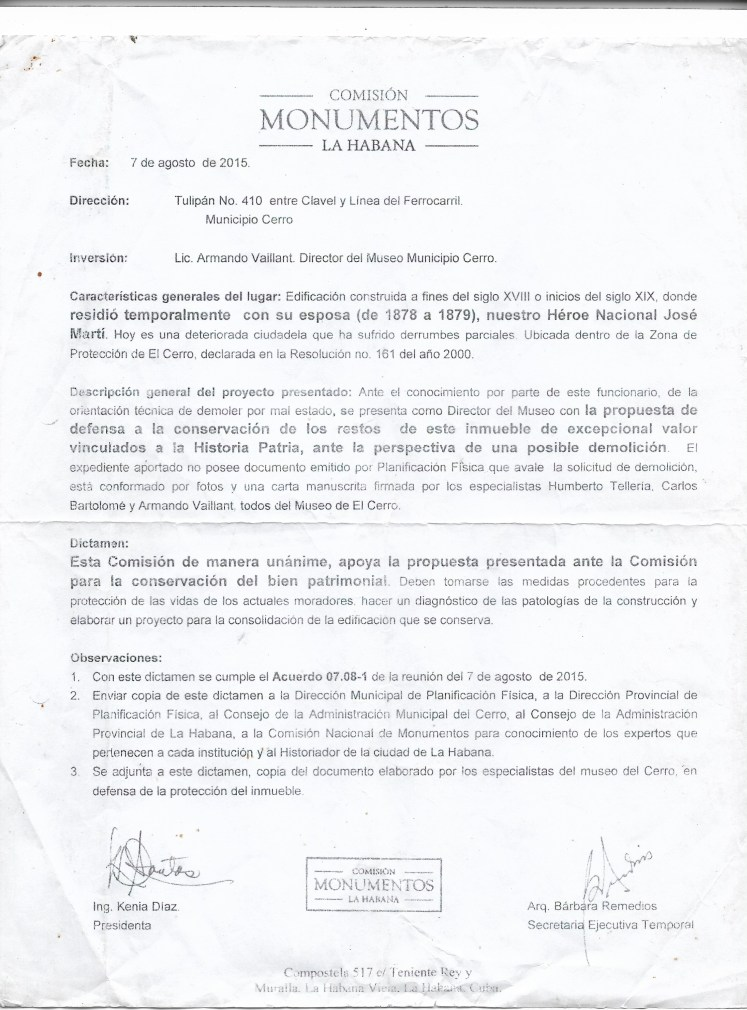 Comisión de Monumentos sobre Tulipán 40 agosto del 2015