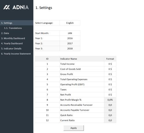 Financial Metrics Dashboard Template - Settings
