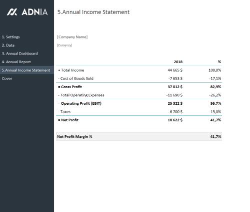 Annual Financial Report Template - Annual income Statement