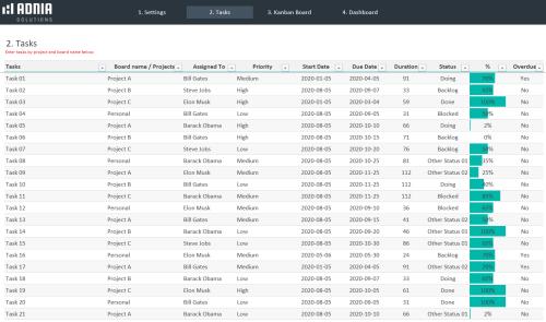 Automated Kanban Excel Template 3.0 - Tasks