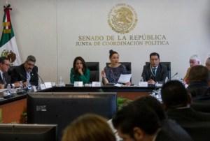 CIUDAD DE MÉXICO, 18AGOSTO2016.- La diputada Mariana Benítez Tiburcio, la senadora Mariana Gómez del Campo y David Javier Baeza Tello, director general de Asuntos Jurídicos y presidente del Comité de Información de la Policía Federal, durante la sesión de la Comisión de Seguimiento a los hechos ocurridos en Nochixtlán, Oaxaca, en donde comparecieron policías federales que participaron en el operativo en el que murieron 8 personas.  FOTO: ISAAC ESQUIVEL /CUARTOSCURO.COM