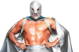 LONDON - JULY 5, 2008: Mexican Lucha Libre Wrestler El Hijo Del Santo poses for a portrait at the Roundhouse in Camden on June 5, 2008 in London, England. Making his debut in Mexico City in 1982, El Hijo Del Santo's signature moves consist of the Tope de Cristo (flying somersault head butt), La de a Caballo (Camel clutch), Plancha, Plancha Suicida, Running Tope Suicida and the Over the Shoulders Sunset Flip. (Photo by Daniel Berehulak/Getty Images)