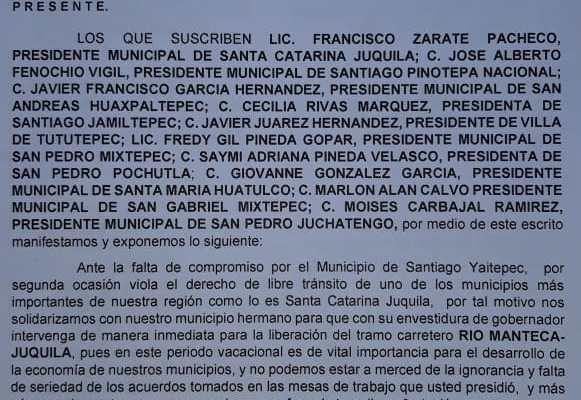 Exigen a Alejandro Murat desbloquear carretera a Juquila (21:00 h)