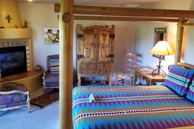 Baja Room with Bed, Fireplace & Hutch