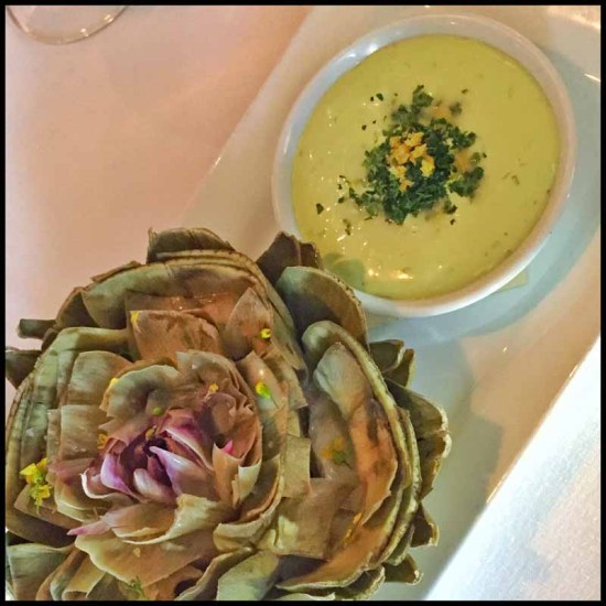 Arroyo Vino: Steamed Artichoke smoked oyster vinaigrette, comté cheese & potato fondue, preserved lemon, parsley