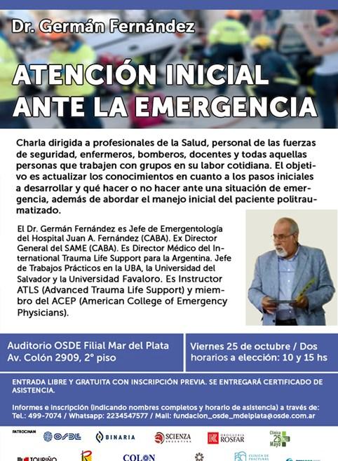 Charla médica gratuita sobre la atención inicial ante la emergencia