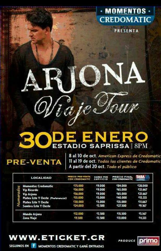 Entradas al conciertos de Ricardo Arjona 2015 Costa Rica