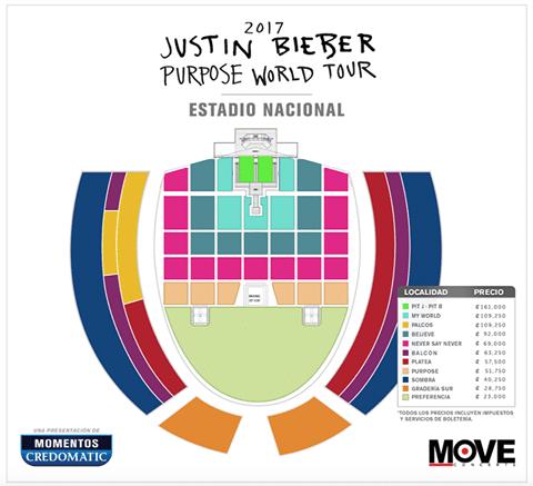 Mapa Concierto de Justin Bieber en Costa Rica 2017
