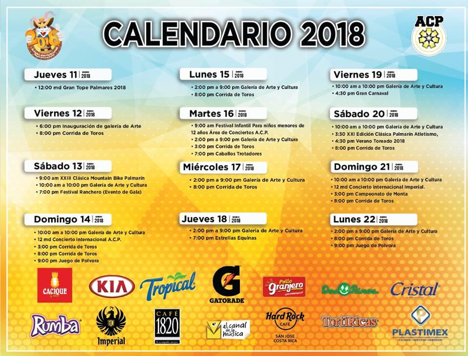 Calendario Fiestas Palmares 2018