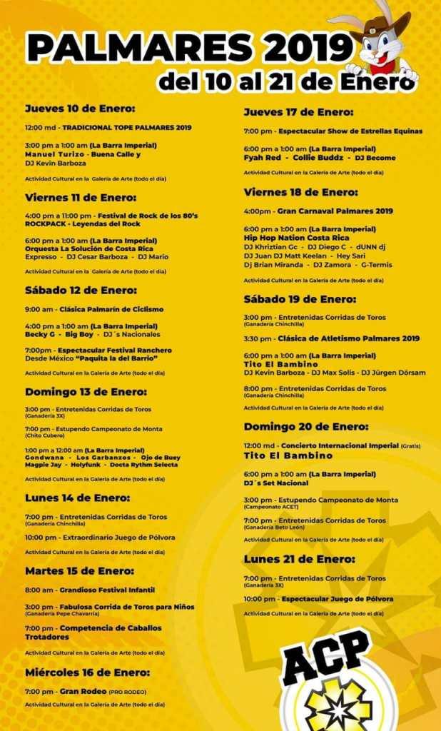 Calendario Palmares 2019