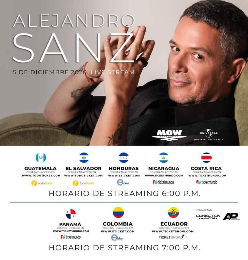 Sanz vía Live Stream 2020 - horarios