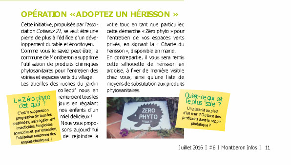 Article Bulletin Montberon Hérisson