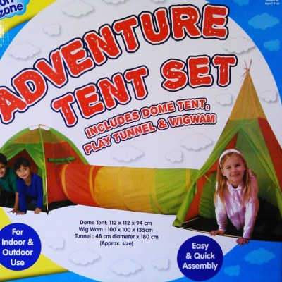 Children's adventure play tent and tunnel