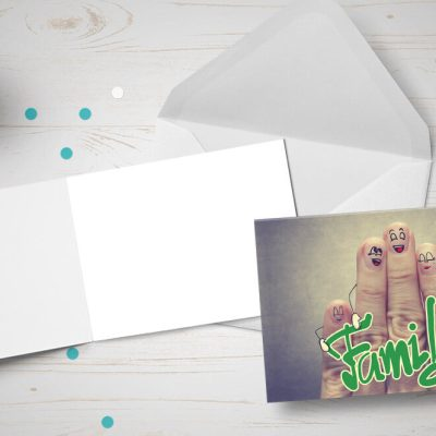Name Day card - family made up of fingers and the word 'Family'