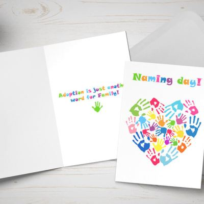 Naming Day card - heart made of multicoloured children's hands