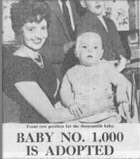 newspaper clipping for one thousandth adopted baby for adoptionhubuk website