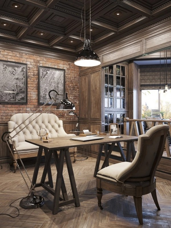 Vintage Office Design In Private Residence