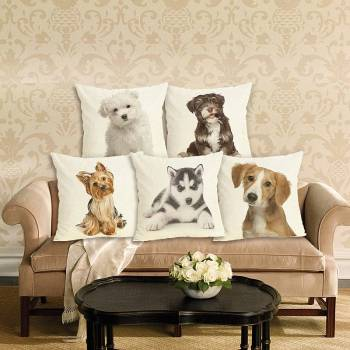 Dogs Cotton Cushion Cover For Pet Lovers Home Decor
