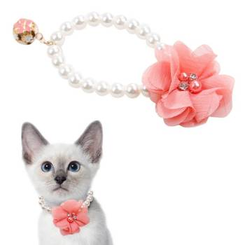Pearl Collar for Cats with Lace Flower and Bell Cats Collars, Harnesses & Leashes