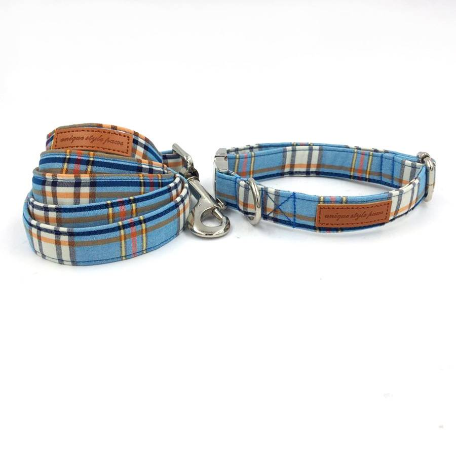Plaid Cotton Dog Collar & Leash Collars, Harnesses & Leashes Dogs