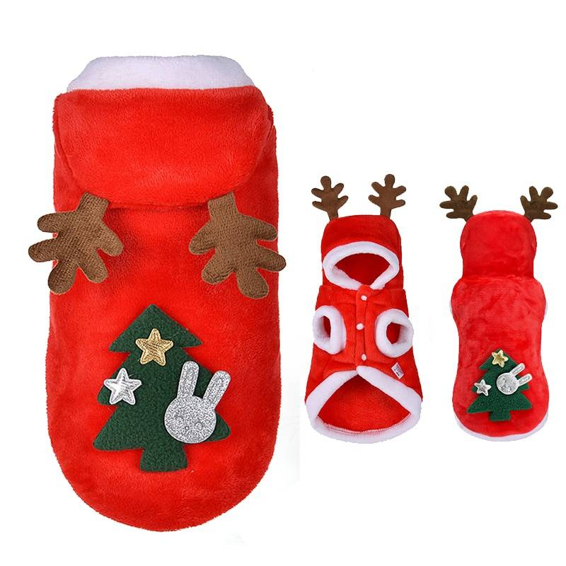 Warm Soft Small Dog Christmas Costume with Hood and Elk Antlers Pet Christmas Costume and Toy