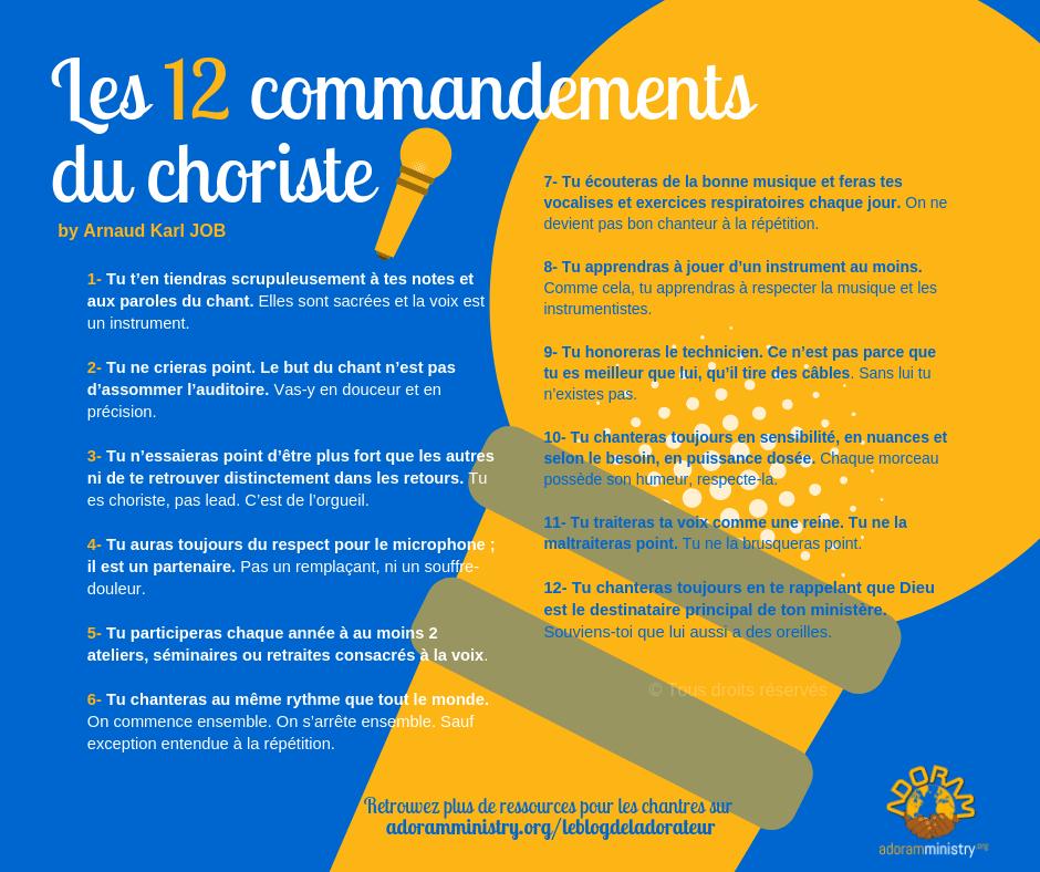 Les 12 commandements du choriste