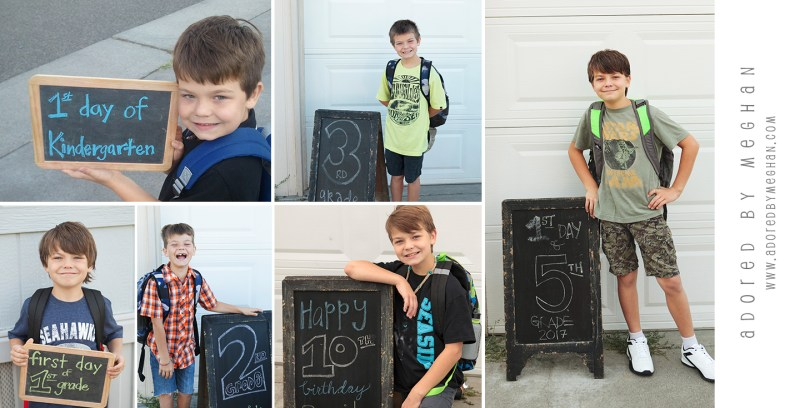 First day of school tradition: first day of school chalkboard photos