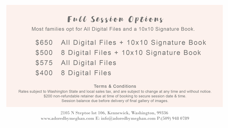 Richland Pasco Kennewick Tri-Cities WA Family Photographer pricing for Adored by Meghan