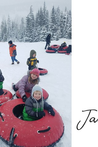 Kids in tubes on the ski hill at White Pass resort