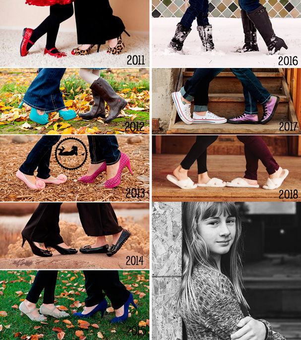 8 years of photos of Mom & Daughter's shoes.  Keepsake, tradition photos.