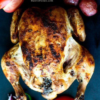 Roast chicken with thyme, garlic and paprika recipe