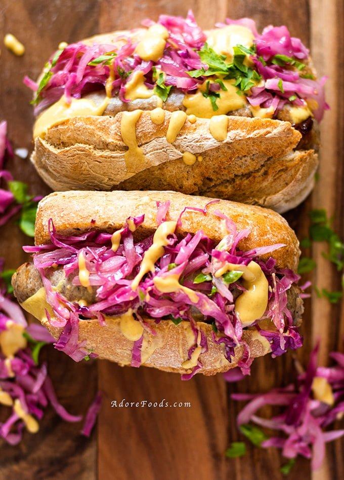 German Bratwurst Hot Dog With Red Cabbage Sauerkraut