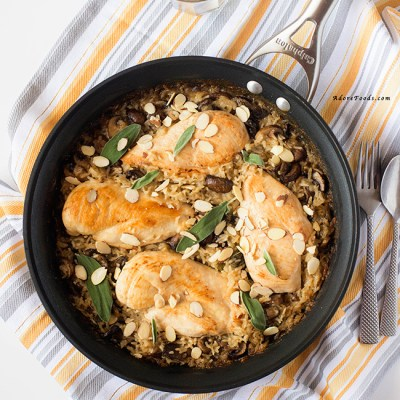 One Pan Mushroom Chicken and Creamy Rice