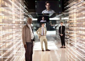Filmstill aus TRANSCENDANCE: Morgan Freeman, Cillian Murphy und Rebecca Hall© Tobis