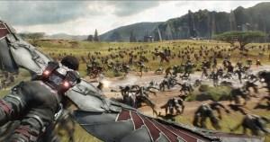 Marvel Studios' AVENGERS: INFINITY WAR..Falcon (Anthony Mackie) flying over Wakanda battlefield..Photo: Film Frame..©Marvel Studios 2018