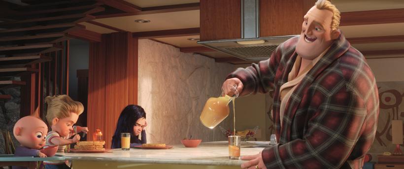 Szenenbild aus DIE UNGLAUBLICHEN 2 - INCREDIBLES 2 (2018) - Bob erkennt noch nicht, wie schwer Kindererziehung ist. - ©2018 Disney•Pixar. All Rights Reserved.