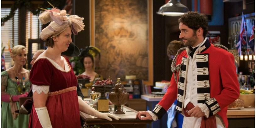 Szenenbild aus MIRANDA - Staffel 2 - Miranda (Miranda Hart) und Gary (Tom Ellis) - © Disney Channel